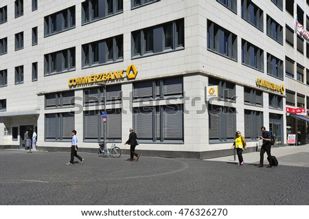 FRANKFURT,GERMANY-AUG 25: Commerzbank on August 25,2016 in Frankfurt, Germany.Commerzbank AG is a German global banking and financial services company with its headquarters in Frankfurt.