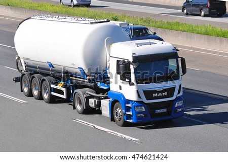 FRANKFURT,GERMANY - AUG 25:oil/chemical truck on the highway on August 25,2016 in Frankfurt, Germany.