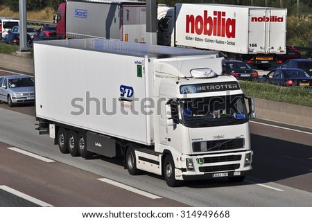 FRANKFURT,GERMANY-AUG 21: truck on the highway on August 21,2015 in Frankfurt,Germany.