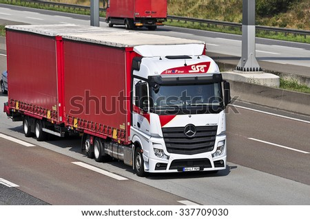 FRANKFURT,GERMANY - AUG 10: truck on the highway on August 10,2015 in Frankfurt, Germany.