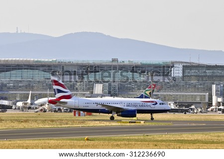 FRANKFURT,GERMANY-AUGUST 21:airplane of British Airways in Frankfurt airport on August 21,2015 in Frankfurt,Germany.British Airways is the flag carrier airline of the United Kingdom. - stock photo