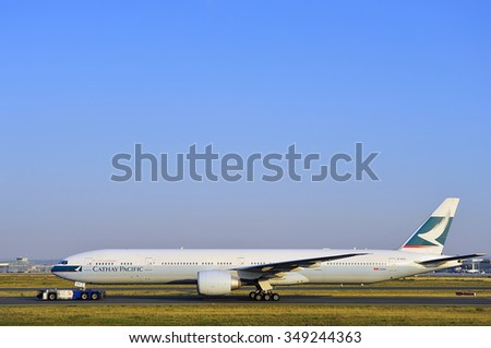 FRANKFURT,GERMANY-AUGUST 22:airplane of Cathay Pacific in the Frankfurt airport on August 22,2015 in Frankfurt,Germany.Cathay Pacific is the largest airline of Hong Kong.