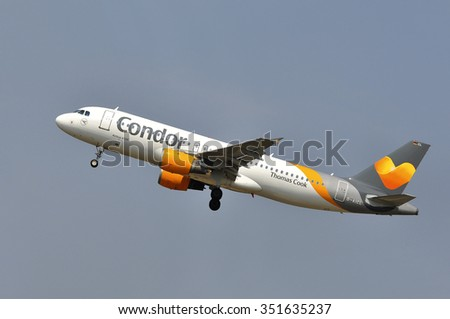 FRANKFURT,GERMANY-AUGUST 10:airplane of Condor airlines on August 10,2015 in Frankfurt,Germany.Condor Flugdienst GmbH, usually shortened to Condor, is a German leisure airline based in Frankfurt.