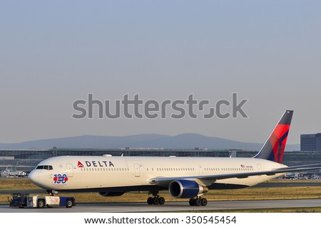 FRANKFURT,GERMANY-AUGUST 22:airplane of Delta Air Lines in the Frankfurt airport on August 22,2015 in Frankfurt,Germany.Delta Air Lines, Delta short, is an American airline based in Atlanta.