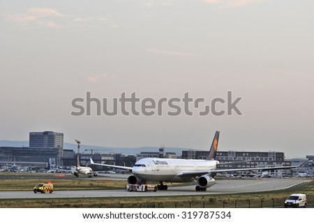 FRANKFURT,GERMANY-AUGUST 22:airplane of Lufthansa on August 22,2015 in Frankfurt,Germany.Lufthansa is a German airline and also the largest airline in Europe.