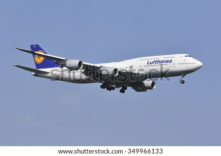 FRANKFURT,GERMANY-AUGUST 22:airplane of LUFTHANSA over Frankfurt  airport on August 22,2015 in Frankfurt,Germany.Lufthansa is a German airline and also the largest airline in Europe.