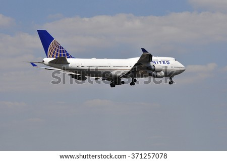FRANKFURT,GERMANY-AUGUST 22: airplane of United Airlines in Frankfurt airport on August 22,2015 in Frankfurt,Germany.United is a major American airline carrier headquartered in Chicago, Illinois. - stock photo
