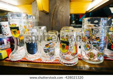 FRANKFURT, GERMANY- AUGUST 22 , 2015: Closeup of traditional german glasses on a souvenir shop in Frankfurt, Germany.  - stock photo