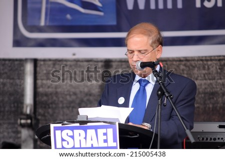 FRANKFURT, GERMANY - AUGUST 31,Israeli ambassador Yakov Hadas Handelsman speaking at Israeli and Kurdish peaceful demonstration for stopping antisemitism and against ISIS on August 31, 2014.