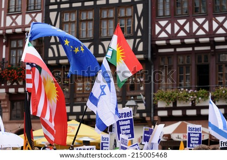 FRANKFURT, GERMANY - AUGUST 31, Israeli and Kurdish peaceful demonstration for stopping antisemitism and against ISIS on August 31,2014