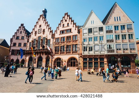 FRANKFURT, GERMANY- AUGUST 22 , 2015: Old town with the half-timbered houses and city Hall - stock photo