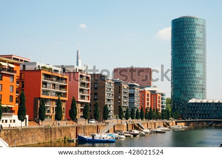 FRANKFURT, GERMANY- AUGUST 22 , 2015: View of the Westhafen tower and the modern buildings around - stock photo