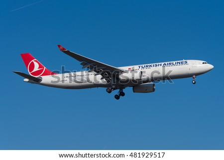 FRANKFURT, GERMANY - AUTUMN 2015 Turkish Airlines Airbus A330-343 TC-JNR, cn 1311,arriving from Istanbul on short final to runway 07R.