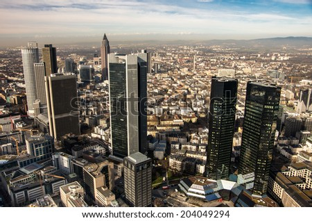 FRANKFURT, GERMANY - CIRCA FEBRUARY 2014 - View from Main tower to city center