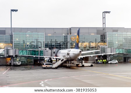 FRANKFURT, GERMANY - DEC 17, 2015: Aircraft of the Lufthansa company at the Frankfurt International airport. It is the  busiest airport in Germany in terms of passenger traffic