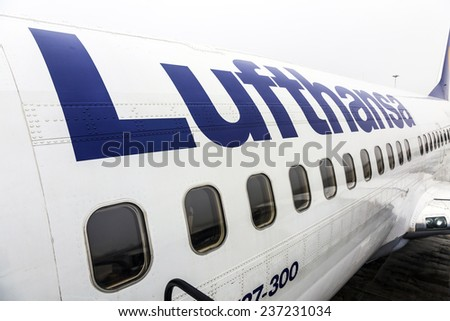 FRANKFURT, GERMANY - DEC 6, 2014: Lufthansa Boeing 737 ready for boarding in Frankfurt, Germany. Frankfurt is the busiest airport in Germany and one of the busiest in Europe. - stock photo