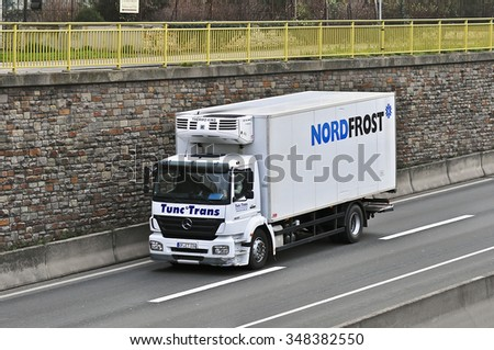 FRANKFURT,GERMANY - DEC 03: truck of Coca Cola  on the highway on December 03,2015 in Frankfurt, Germany.