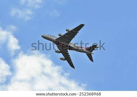 FRANKFURT,GERMANY-FEB 08:EMIRATES airlines airplane flight on February 08,2015 in Frankfurt,Germany.Emirates is one of two flag carriers of the United Arab Emirates along with Etihad Airways in Dubai.