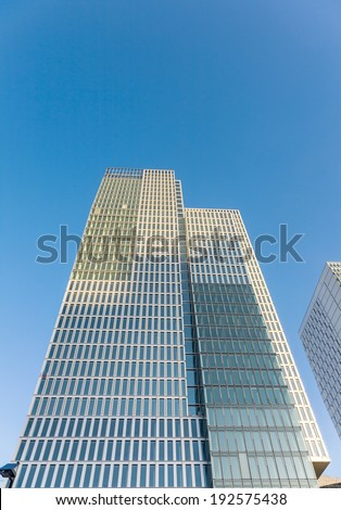 FRANKFURT, GERMANY - FEB 20: famous skyscraper and Hotel Jumeirah on February 20, 2010 in Frankfurt, Germany. Architects Engel and Zimmermann finalized the Jumeirah in April 2010.