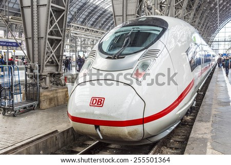FRANKFURT, GERMANY - FEB 24, 2015: Inside the Frankfurt central station in Frankfurt, Germany. With about 350.000 passengers per day its the most frequented railway station in Germany. - stock photo