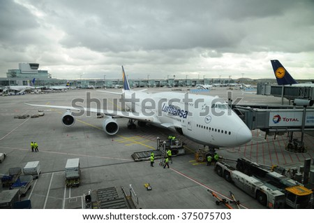FRANKFURT, GERMANY - FEB 3: Lufthansa flight Boeing 747 ready to take off on Feb 3, 2016 in Frankfurt, Germany. Lufthansa is the flag carrier of Germany and the largest airline in Europe.