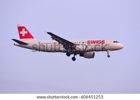 FRANKFURT,GERMANY-FEB 09:Swiss International Airlines Airbus A320 lands at airport on February 09,2017 in Frankfurt,Germany.Swiss International Air Lines AG is the flag carrier airline of Switzerland