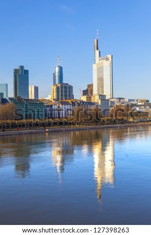 FRANKFURT, GERMANY - FEB 5: view to skyline of Frankfurt with river Main and skyscraper on Feb 5, 2012 in Frankfurt,Germany. It is the fifth-largest city in Germany, with a 2012 population of 704,449.