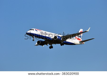 FRANKFURT,GERMANY-FEBR 25:airplane of British Airways above the Frankfurt airport on February 25,2016 in Frankfurt,Germany.British Airways is the flag carrier airline of the United Kingdom.