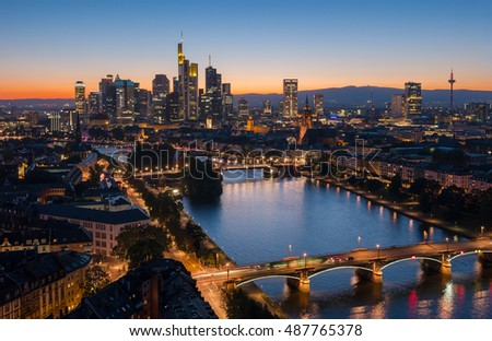 Frankfurt, Germany financial district skyline at sunset