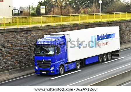 FRANKFURT,GERMANY-JAN 14:truck on the highway on January 14,2016 in Frankfurt,Germany.