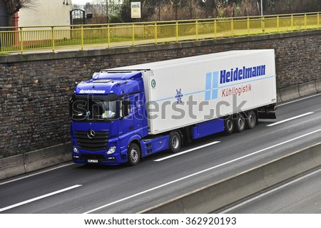FRANKFURT,GERMANY-JAN 14: truck on the highway on January 14,2016 in Frankfurt,Germany.