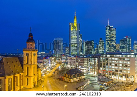 FRANKFURT, GERMANY - JAN 21, 2015: view to skyline of Frankfurt with Hauptwache on in Frankfurt, Germany. The Hauptwache is a central point and one of the most famous plazas in town. - stock photo