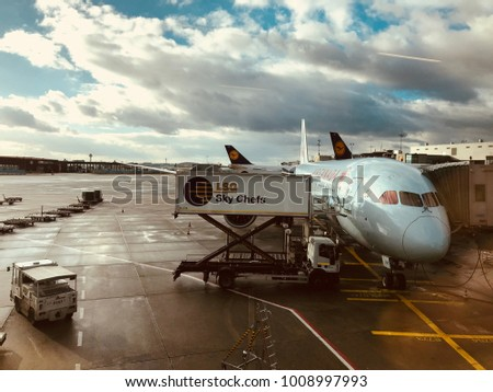 Frankfurt, Germany - January 02 2018: Lufthansa airplane, on the runway waiting for boarding passengers at Frankfurt airport