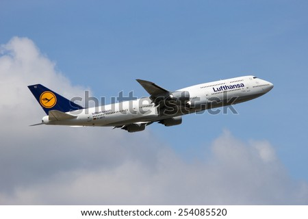 FRANKFURT, GERMANY - JUL 09, 2013: A Lufthansa Boeing 747-830 taking off from Frankfurt Airport. Lufthansa is founded in 1953 and the largest airline in Europe.  - stock photo