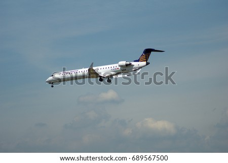 FRANKFURT, GERMANY - JUL 09th, 2017: Lufthansa CityLine Lufthansa Regional Canadair CRJ-900LR with identification D-ACNE approaching at Frankfurt International Airport Germany, FRA
