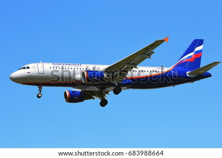 FRANKFURT,GERMANY-JULY 21:Aeroflot Airbus A320 lands at Frankfurt airport on July 21,2017 in Frankfurt,Germany.Aeroflot, is the flag carrier and largest airline of the Russian Federation.