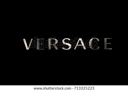 Frankfurt, Germany - July 27, 2017: Close up of Versace brand logo