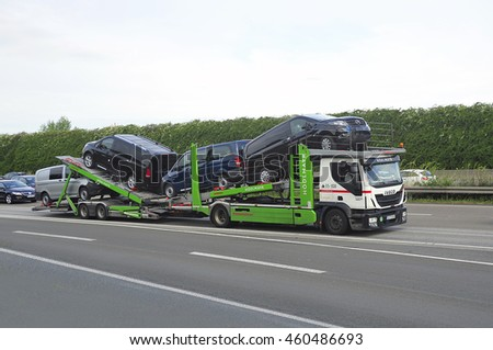 FRANKFURT,GERMANY - July 28:IVECO  truck on the highway on July 28,2016 in Frankfurt, Germany.