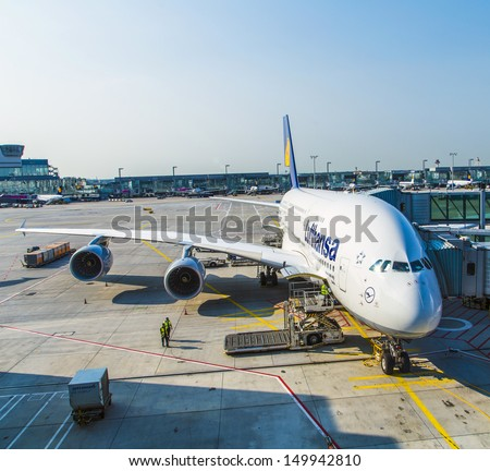 FRANKFURT, GERMANY - JULY 7:   LH440 to Houston is ready for boarding on July 7,2013 in Frankfurt, Germany. On this route operates the Lufthansa Flagship A380.