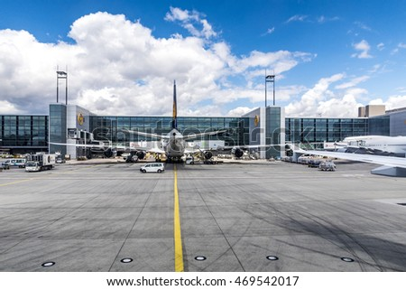 FRANKFURT, GERMANY - JULY 25, 2015: Lufthansa Flight at the gate in Frankfurt, Germany. New Terminal A is under construction for airport enlargement.