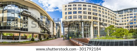 FRANKFURT, GERMANY - JULY 30, 2015: The new seat of the Landesarbeitsgericht Hesse in Frankfurt, Germany. In 2007 the court moved to this area which was a former military caserne. - stock photo