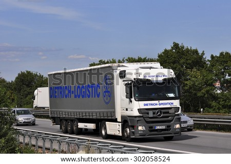 FRANKFURT,GERMANY-JULY 31: truck on the highway on July 31,2015 in Frankfurt,Germany.