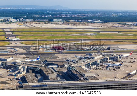 FRANKFURT, GERMANY - June 20: aerial of airport on June 20,2013 in Frankfurt Germany. The new runway opened in APR 2012 and causes a lot of polictical discussion because of heravy noise.
