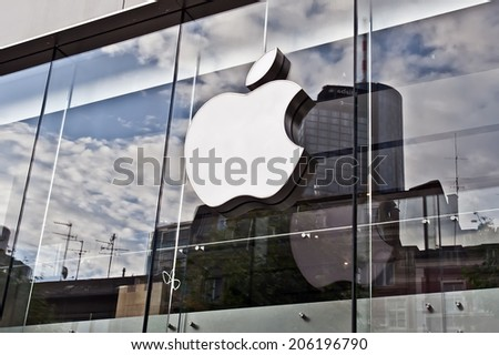 FRANKFURT,GERMANY_JUNE 29:Apple store on June 29,2014 in Frankfurt,Germany.Apple Inc. sells consumer electronics, computer software, services and personal computers. - stock photo