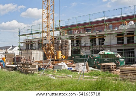 FRANKFURT, GERMANY-JUNE, 08, 2013: Building site with new houses under construction