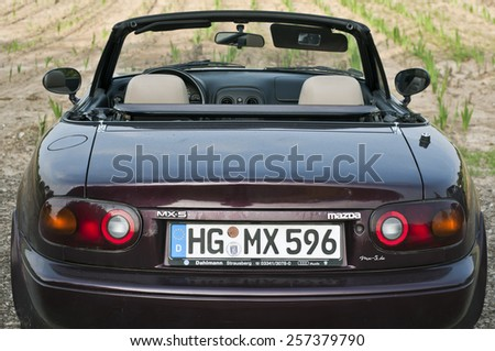 FRANKFURT,GERMANY-JUNE 20:old MAZDA car on June 20,2013 in Frankfurt,Germany. - stock photo