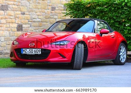 FRANKFURT,GERMANY-JUNE 20:red  MAZDA car  on June 20,2017 in Frankfurt,Germany.