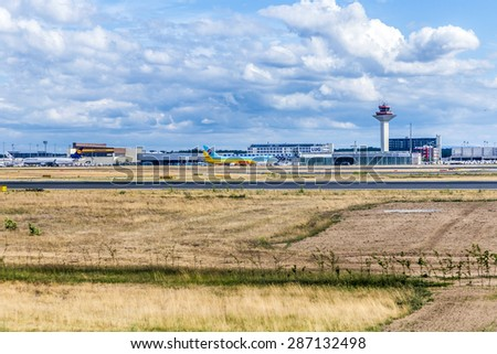 FRANKFURT, GERMANY - JUNE 13, 2015: view to cargo area at Frankfurt international airport in Frankfurt, Germany. With 38 million passengers per year it is one of the most important airport in Europe.