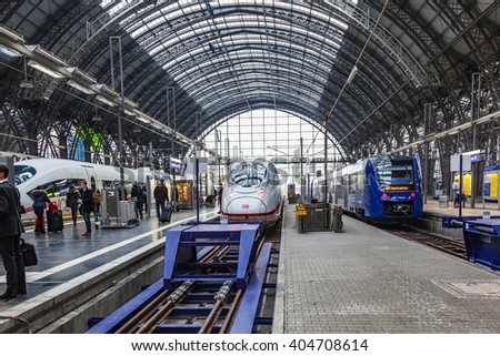 FRANKFURT, GERMANY- MAR 25, 2015: People arriving or departing at the Frankfurt main train station, Hauptbahnhof in Frankfurt, Germany. - stock photo