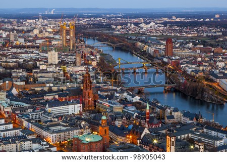 FRANKFURT - GERMANY, MARCH 25: aerial  with river Main on March 25, 2012 in Frankfurt, Germany. Frankfurt is the largest city in the German state of Hesse and the financial  centre of Germany.